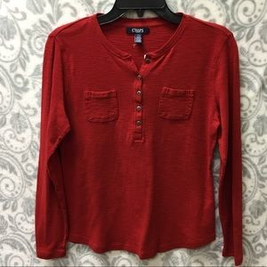 Chaps NWOT red halfway button down long sleeve tee